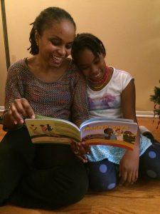 Carol and daughter reading Nerissa Golden's Island Days